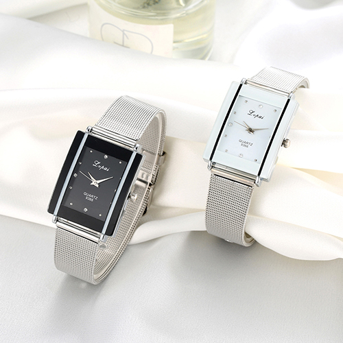 Men Women Fashion Rectangle Dial Stainless Steel Net Strap Quartz Wrist Watch
