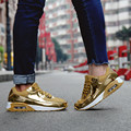 ZOCN Calzados informales Unisex Espejo Superficie Brillante otoño hombres de Las Señoras Acuña los Zapatos de Plata de Oro Aumento de la Altura Zapatos de Gran Tamaño 35-44