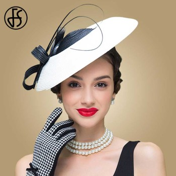 FS Fascinators Black And White Weddings Pillbox Hat For Women Straw Fedora Vintage Ladies Church Dress Sinamay Derby Hats b055 round saucer teardrop sinamay percher hat fascinator millinery craft base