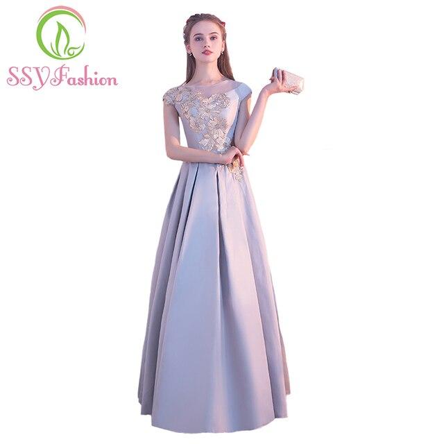 SSYFashion New Elegant Grey Satin Long Evening Dress The Bride Banquet Grey  Appliques Cap Sleeve Floor-length Prom Party Gown c622c2ea6e5f