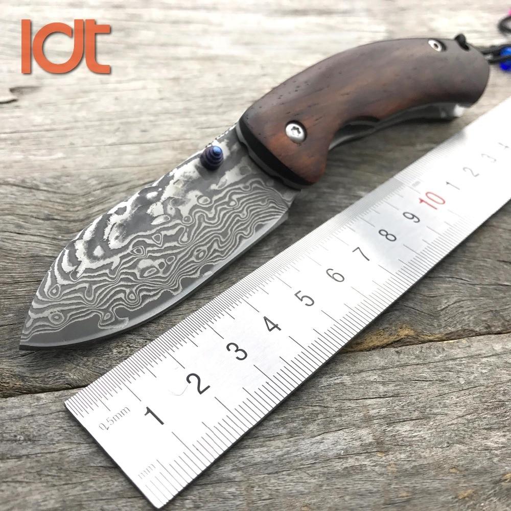 LDT Thomas Folding Knife Damascus Blade Yellow sandalwood Handle Survival Camping Hunting Knives Pocket Outdoor Knife EDC Tools