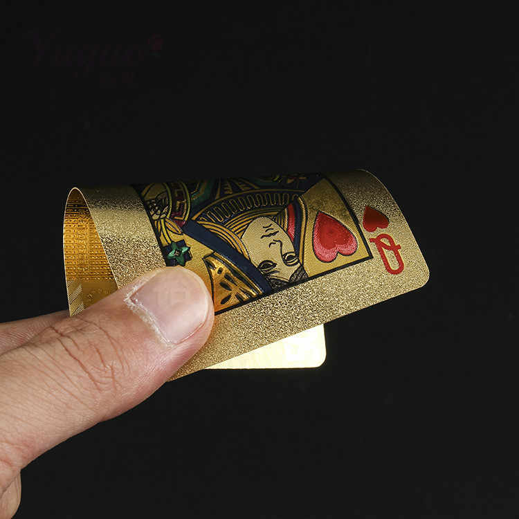 One Deck Gold Foil Poker Euros Style Plastic Poker Playing Cards Waterproof Cards Good Price Gambling Board game