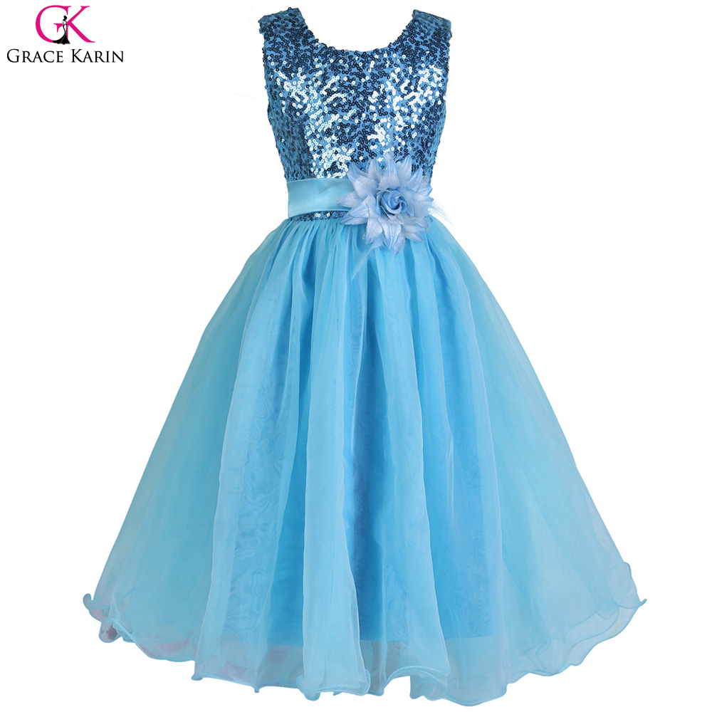 2017 new arrival red blue white sequin cheap flower girl for Dresses for girls wedding