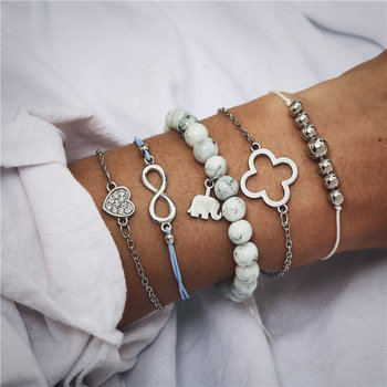IF ME Bohemian Geometric Stone Bracelet Set for Women Vintage Rope Taseel Sequin Moon Map Elephant Heart Leaf Female Jewelry NEW 4