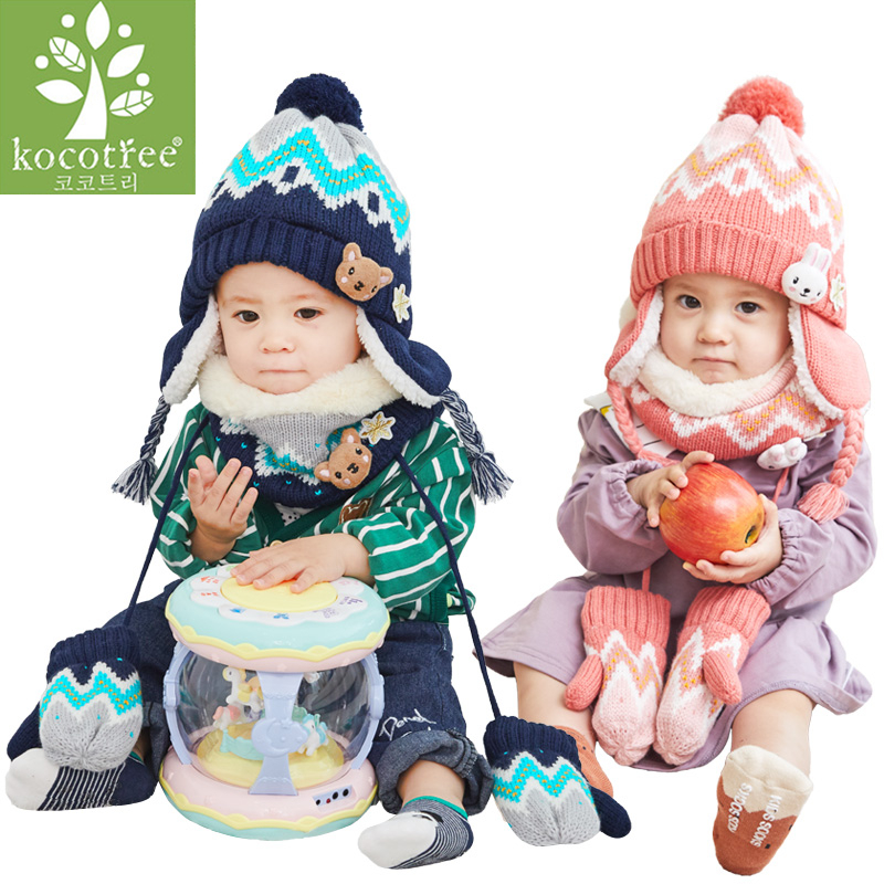 Unisex Child Beanies Cap Set Kids Cartoon Animal Design Stripe Knit Add Velvet Hat And Scarf Winter Warm Suit Set Girls Gloves