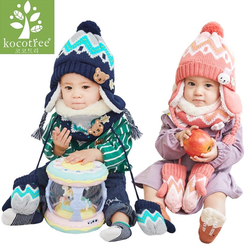 Cartoon Winter Bib Boy Panda Girl Toddler Beanie Warm Scarf Muffler Hat Cap