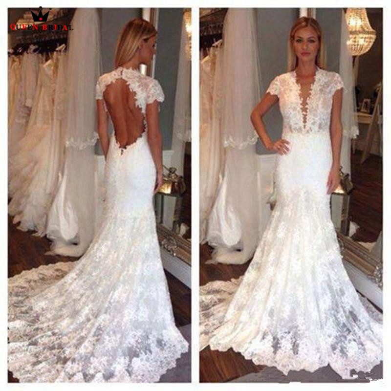 Classic Wedding Gowns 2018: Mermaid Short Sleeve V Neck Backless Lace Sexy Vintage