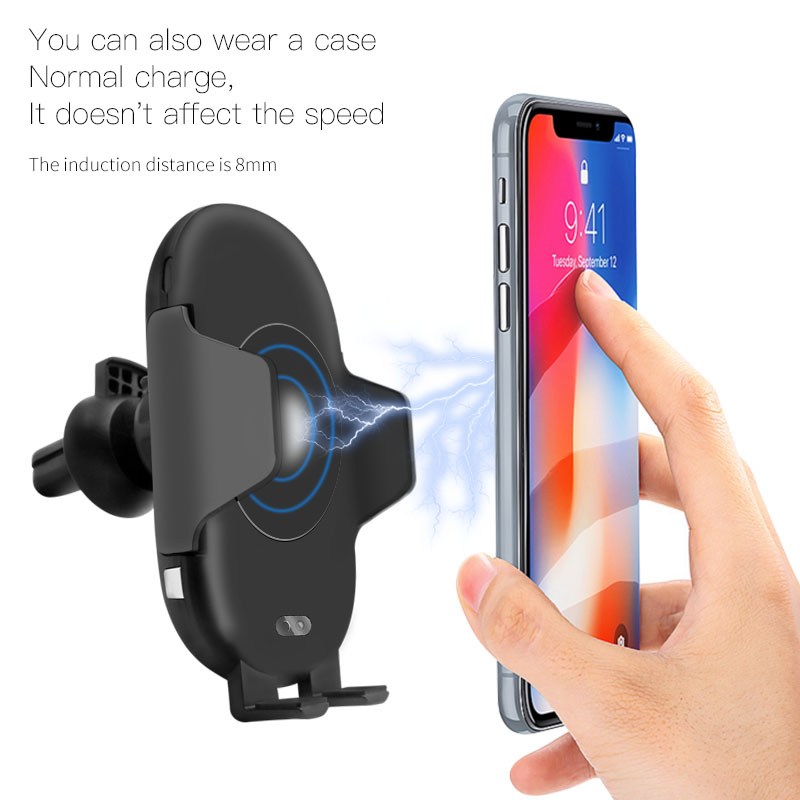 Image 2 - 10W Qi Wireless Charger Car Phone Holder for iPhone 8 X XR XS Infrared Fast Wireless Charging Car Charger for Samsung S9 S8 S10-in Mobile Phone Chargers from Cellphones & Telecommunications
