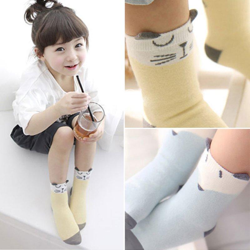 Kids Baby Socks Cartoon Newborn Cotton Fox Cat Printed Anti-slip Knee Socks RZ