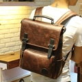 New Leather Backpack Faux Leather School Backpacks men cool Multifunction large capacity backpacks for both women and men