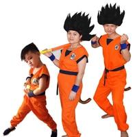 Dragon Ball Z Vestito Son Goku Cosplay Costumi Top/Pantaloni/Cinghia/Coda/wrister/Parrucca Per adulti Bambini