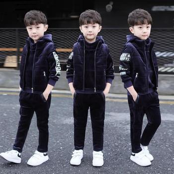 -30 Degree Boys Winter Plushed Thickened Clothing 3 Pcs Suit Kids Golden Velvet Clothes Children Vest Coat + Hoodies + Pants P23