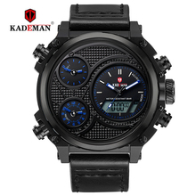 купить New Sport Mens Watches Luxury LED Display Casual Man Leather Watch Waterproof Sport Digital Wristwatch TOP Brand KADEMAN Relogio по цене 1238.21 рублей