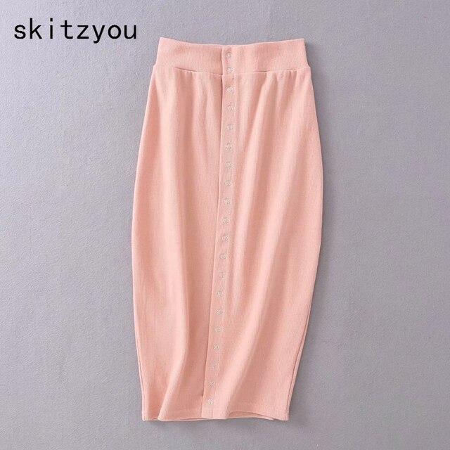 fb7f84f792 skitzyou High Waist Summer Bodycon Elastic Sheath Skirt Women Fashion  Button Front Cotton Elastic White Pink Knee Length Skirts