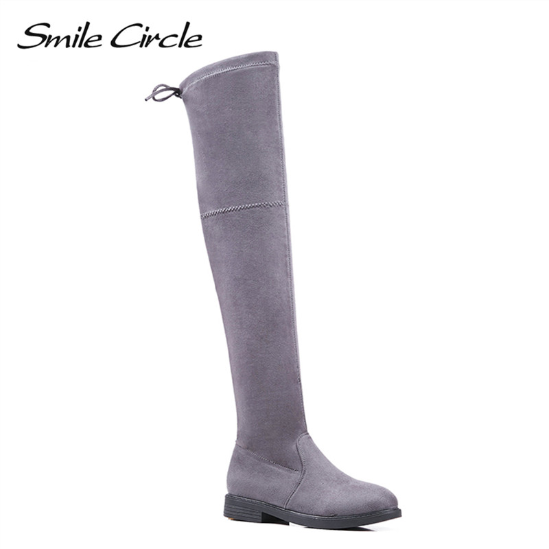 Smile Circle Autumn Winter Boots Women Thigh High Boots Women Over the Knee Boots Faux Suede Boots Fashion Slip on Flat Shoes e toy word autumn winter boots women over knee thigh high boots women flats long boots low heel suede leather women shoes