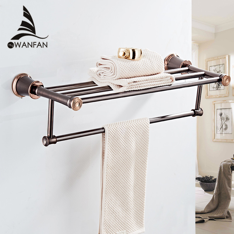 Bathroom Shelves ORB Finish Wall Shelf in the Bathroom Brass Towel Holder Towel Tack Bathroom Accessories
