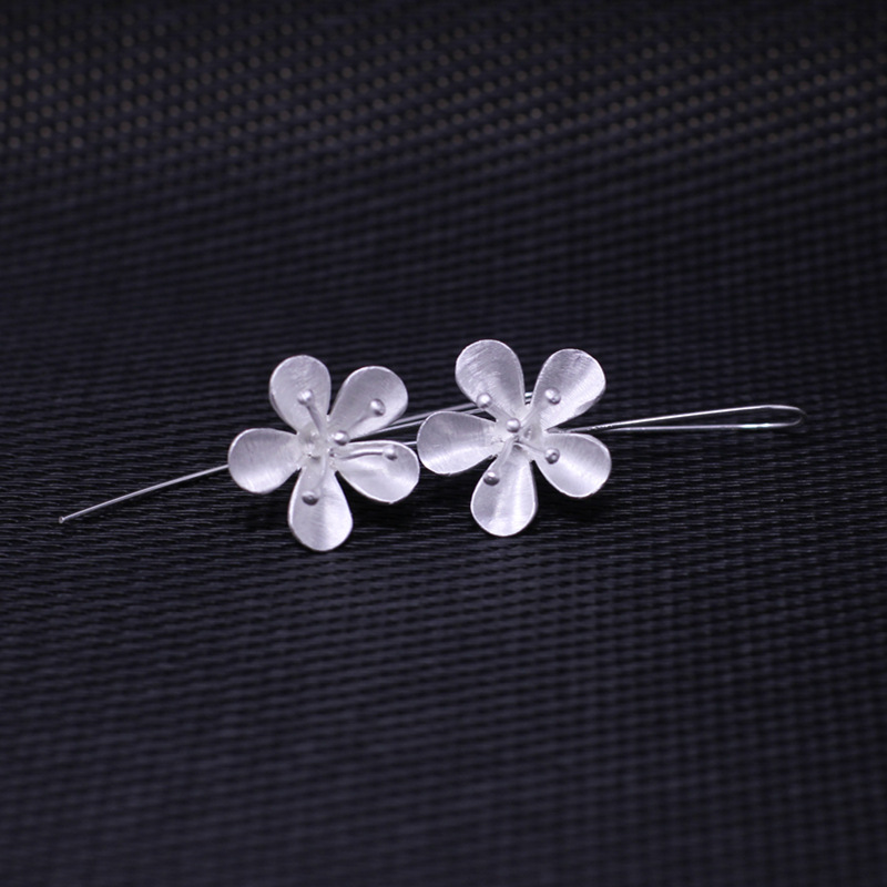 4.5CM*2CM high quality 925 Sterling silver women jewelry Thailand handmade flowers earrings cute fashion Vintage Bohemia earring