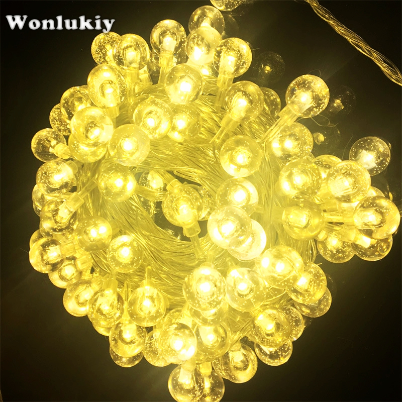 Beautiful Wonlukiy Led String Lights 10m/20m/30m Crystal Ball Lighting For Christmas Outdoor Garden Holiday Party Weeding Decor Fairy Lamp Led String