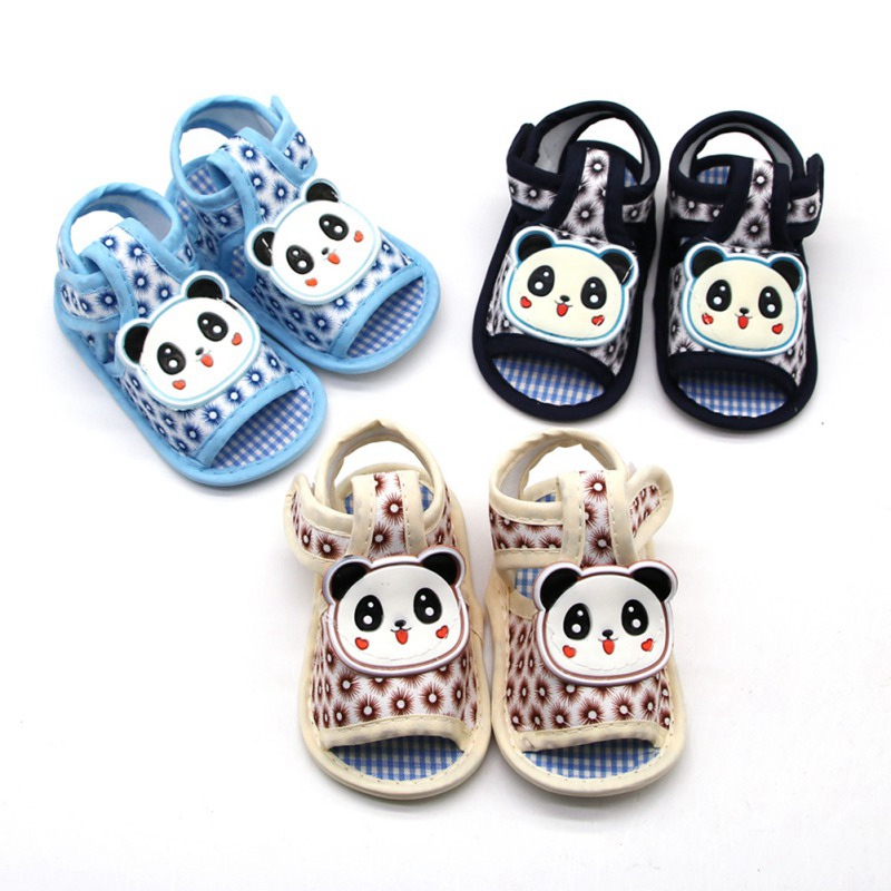 Summer Boy Girl Cartoon Panda Pattern Shoes Soft Sole Outdoor  Slippery Breathable Shoes