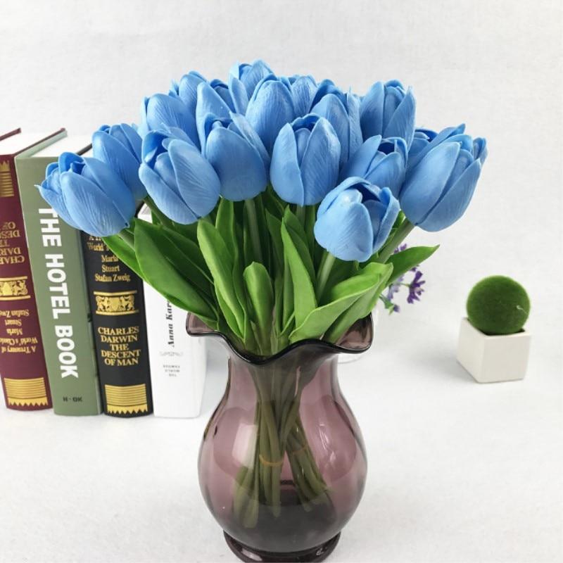 11PCS/31PCS PU Artificial Tulip Flower Real Touch DIY Wedding Decoration Flowers Bouquet Artificial Flowers for Home Party Decor