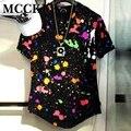 Camisa de Manga Curta Dos Homens Tie Dye Respingo de tinta Hi-Rua Quadril Hop Camisas de Rock T Moda Streetwear Curvo Hem Tees Marca Designer