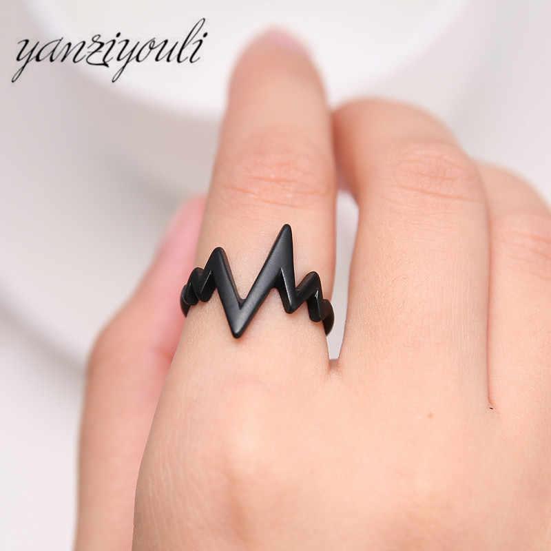 2019 แฟชั่น Heartbeat แหวนทองเงินสีดำสร้างสรรค์แหวนขายส่งชาย Charm เครื่องประดับราคาถูก Anillos