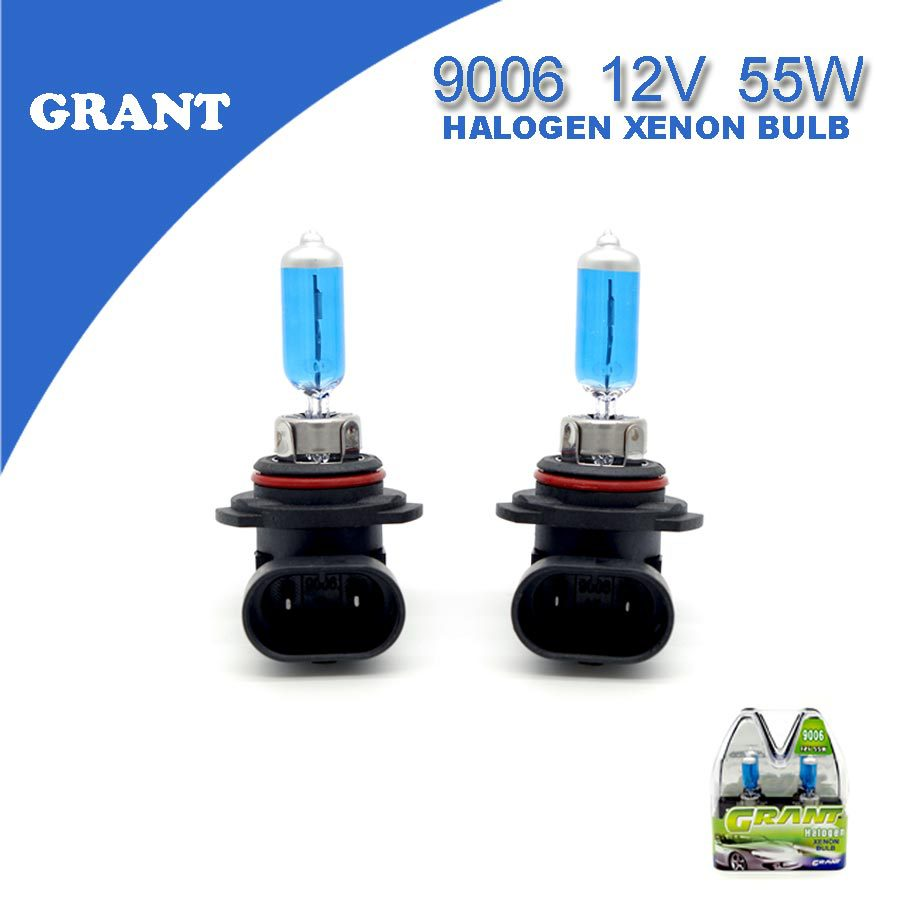 1SET GRANT 9006 HB4 12V 55W Halogen Xenon Bulbs 6000K Bright White Auto Headlight Replacement Lamp Car Light Source