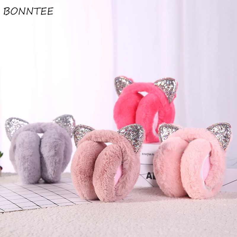 Earmuffs Women Cat Ears Harajuku Kawaii Streetwear Plus Velvet Thicker Winter Warm Solid Plush Korean Style  All-match Leisure