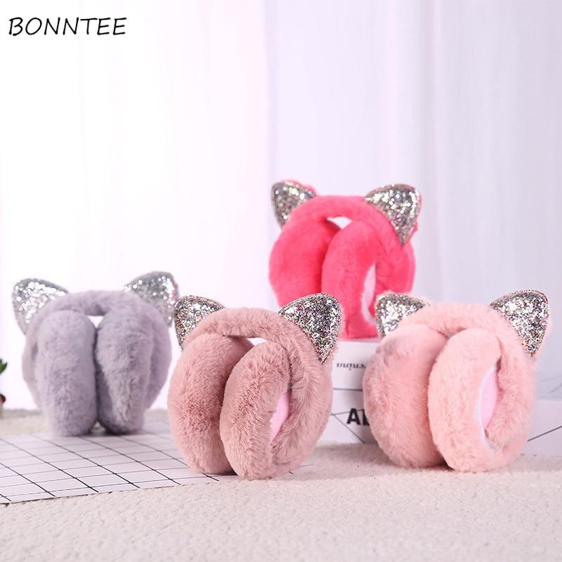 Earmuffs Women Cat Ears Harajuku Kawaii Streetwear Plus Velvet Thicker Winter Warm Solid Plush Korean Style  All-match Leisure