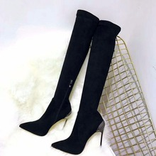 New Fashion Black Thigh high Overknee Boots Women Pointed Sexy Stilettos Elastic Sock Waist Bootcuts Metal High Heel Shoes Woman цена в Москве и Питере