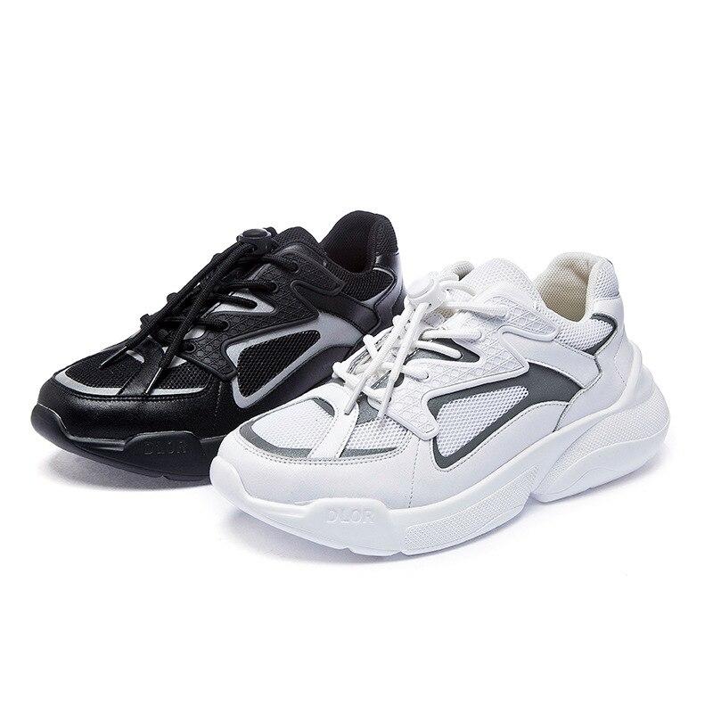 Zhenwei  Women Shoes High Increased Upper Platform White Reflective Womens Sneakers 2019 Fashion Daddy Chunky
