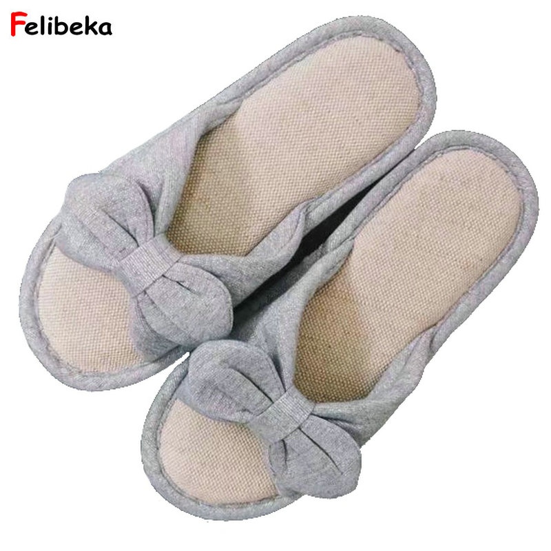 Cartoon New Women's Slippers Cute Bow Silver Home Indoor Slippers Soft Non-slip Floor Shoes Bedroom Slippers women floral home slippers cartoon flower home shoes non slip soft hemp slippers indoor bedroom loves couple floor shoes