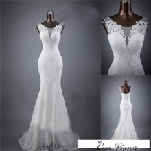 C.V Real photo Custom Made Lace Mermaid Wedding Dress 2017 White Color V Neck Fish Tail Sexy Mariage Wedding Dresses W0193