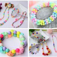 Children Amblyopia Candy Colors DIY Wear Beads Bracelet Kids Toys Geometric Shape Personalized Jigsaw Puzzle