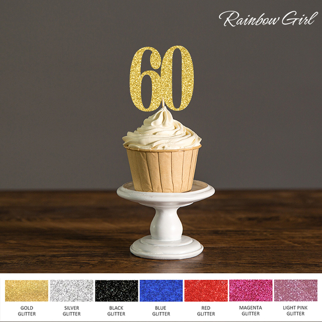 Sixty Birthday Decorations60 Cupcake Toppers Picks Black Gold Silver Glitter 60th Anniversary Party Cake Favors Decoration