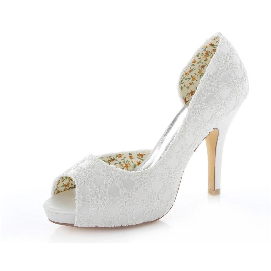 nouvelle arrive de mariage parti chaussures de marie demoiselle dhonneur chaussures dentelle satin chaussures - Chaussures Compenses Blanches Mariage