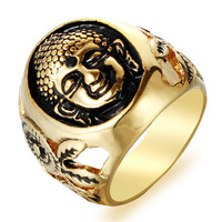 New Hot Steel Soldier Sakyamuni Buddha Ring 316L Stainless Steel Gold Jewelry Wholesale Rings