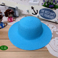 Free shipping 2016 Children Fashion Pure color Sun Hat Girl Outdoor Sunshade Hat Strawhat 8 colors Wholesale