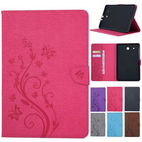 T580 Floral Painted Ultra Slim Stand PU Leather Case Print Smart Tablet Cover For Samsung Galaxy