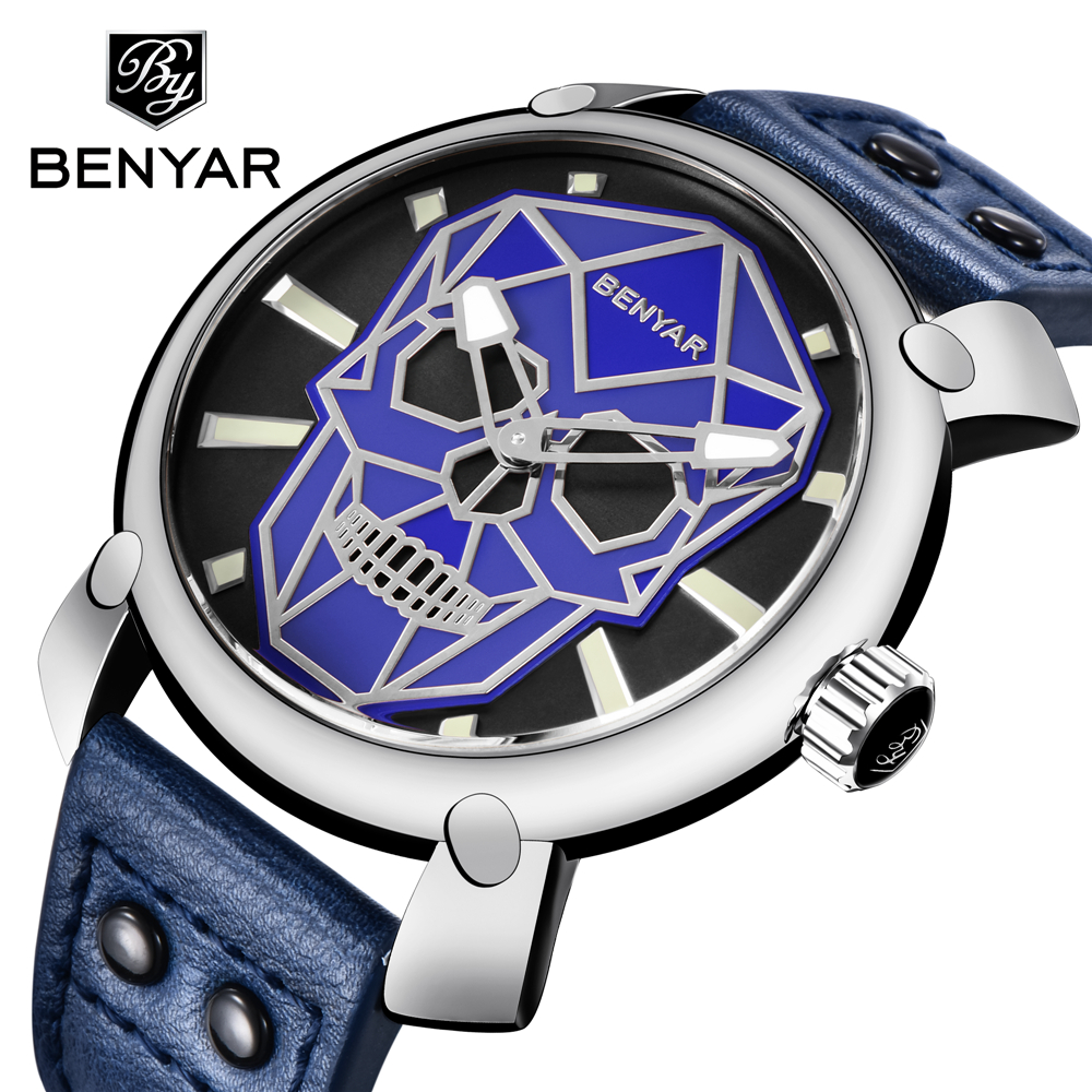 BENYAR Casual Fashion sports Watch Mens Luxury Brand Waterproof Quartz Leather Male Military Watches Men Clock Relogio Masculino loreo casual mens watches brand luxury leather men military wrist watch fashion men sports quartz watch relogio masculino m32