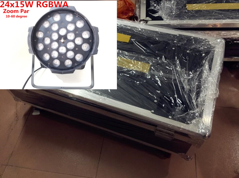 8pcs 24x15W Zoom LED Par Lights with with 1 flight case Light led par light DMX Controller dj light Zoom angle 10 60 degree