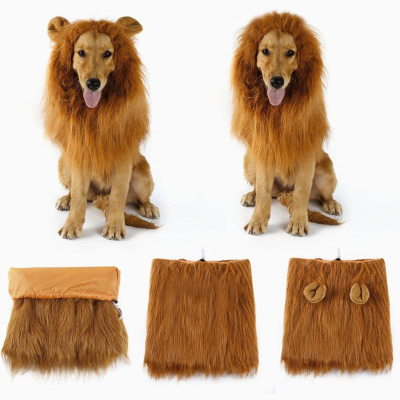 1pc Lovely Pet Dog Puppy Cats Wig Head Cap Hat with Ears Emulation Cosplay Lion Clothes Dress Up Costume Mane Fancy Pet Apparel