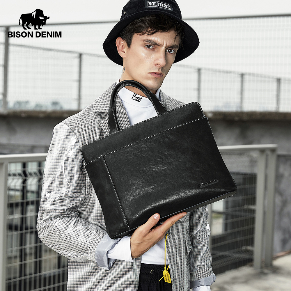 BISON DENIM Genuine Leather Men Bag 14