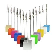 Lot 50 adet Memo klipleri küp tel fotoğraf tutucu Logo özel düğün yeri kart tutucu promosyon hediye kişiselleştirilmiş hediye freebie