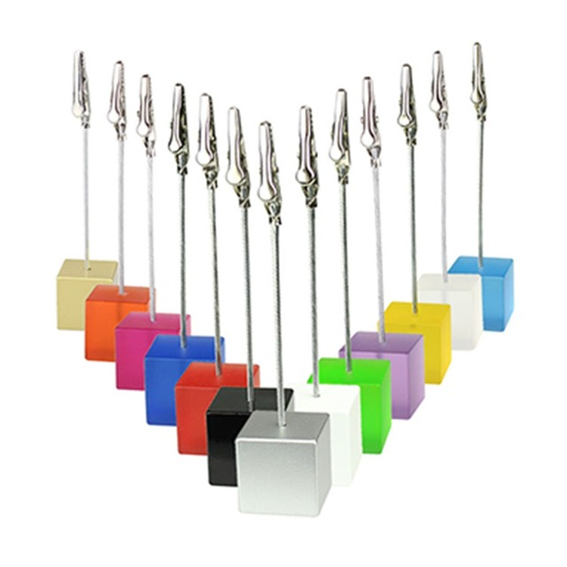 Lot 50pcs Memo Clips Cube Wire Photo Holder Logo Custom Wedding Place Card Holder Promotion Gift Personalize Giveaway freebie