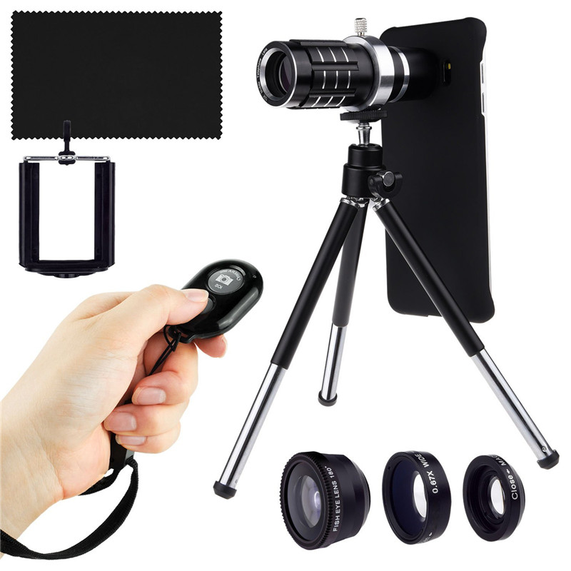 Camera and Shutter Remote Kit-Holder Cover Case+12x Telescope Optical Lens/3 Awesome Lens+Tripod For Samsung Galaxy S8 + S7 Edge 12x optical zoom telescope camera lens w back case for samsung galaxy note 2 n7100 silver black