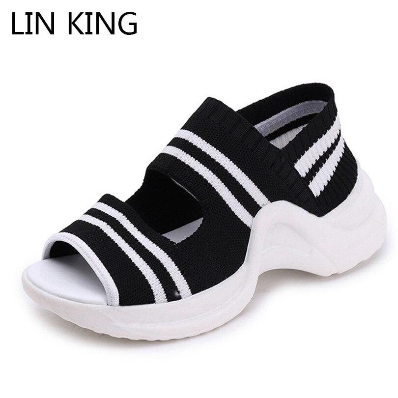 Wedges Shoes Sandals Slip-On Summer Platform Thick-Sole KING Breathable Women Gladiator