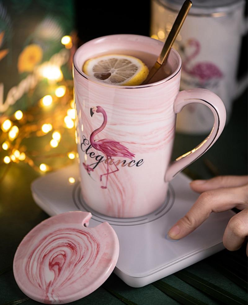Керамическая кружка с позолоченным Фламинго молочный кофе чай кружки с ложкой ручка бытовой 55 Цельсия термостат padOffice чашка Кружки      АлиЭкспресс - Дома тепло