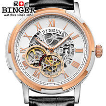 Binger Genuine Leather Luxury Men Watches Tourbillon Switzerland Function Men Top Brand Military Watch Relogio Masculino