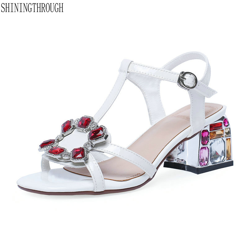 Genuine leather women Sandals crystal high heels Summer Shoes Women High Quality wedding Shoes woman large Size 34-42Genuine leather women Sandals crystal high heels Summer Shoes Women High Quality wedding Shoes woman large Size 34-42